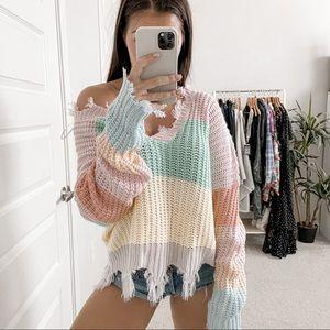 Miracle Striped Pastel Raw Hem Sweater Multi